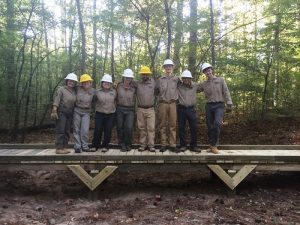 Crew members test the newly constructed bridge.