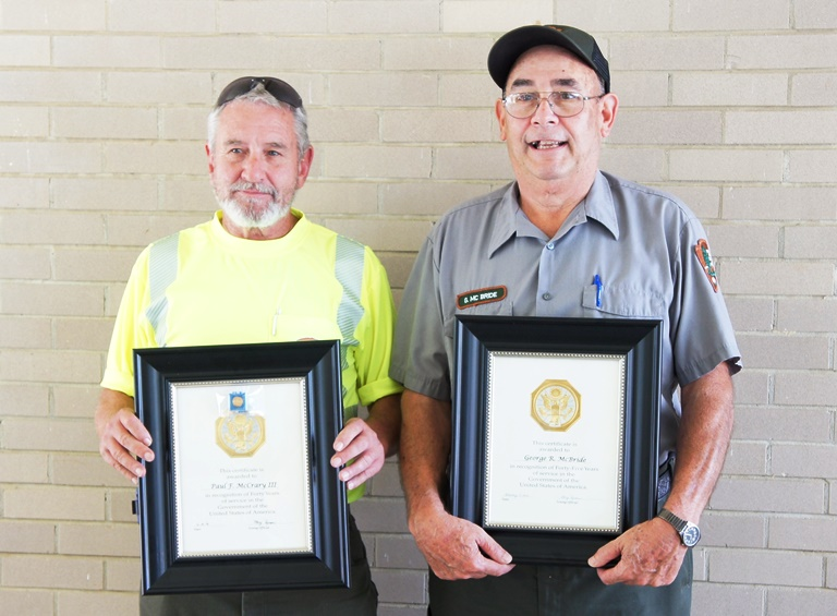 Forrest McCrary - 40 Years Service (on left), George McBride - 45 years (on right)